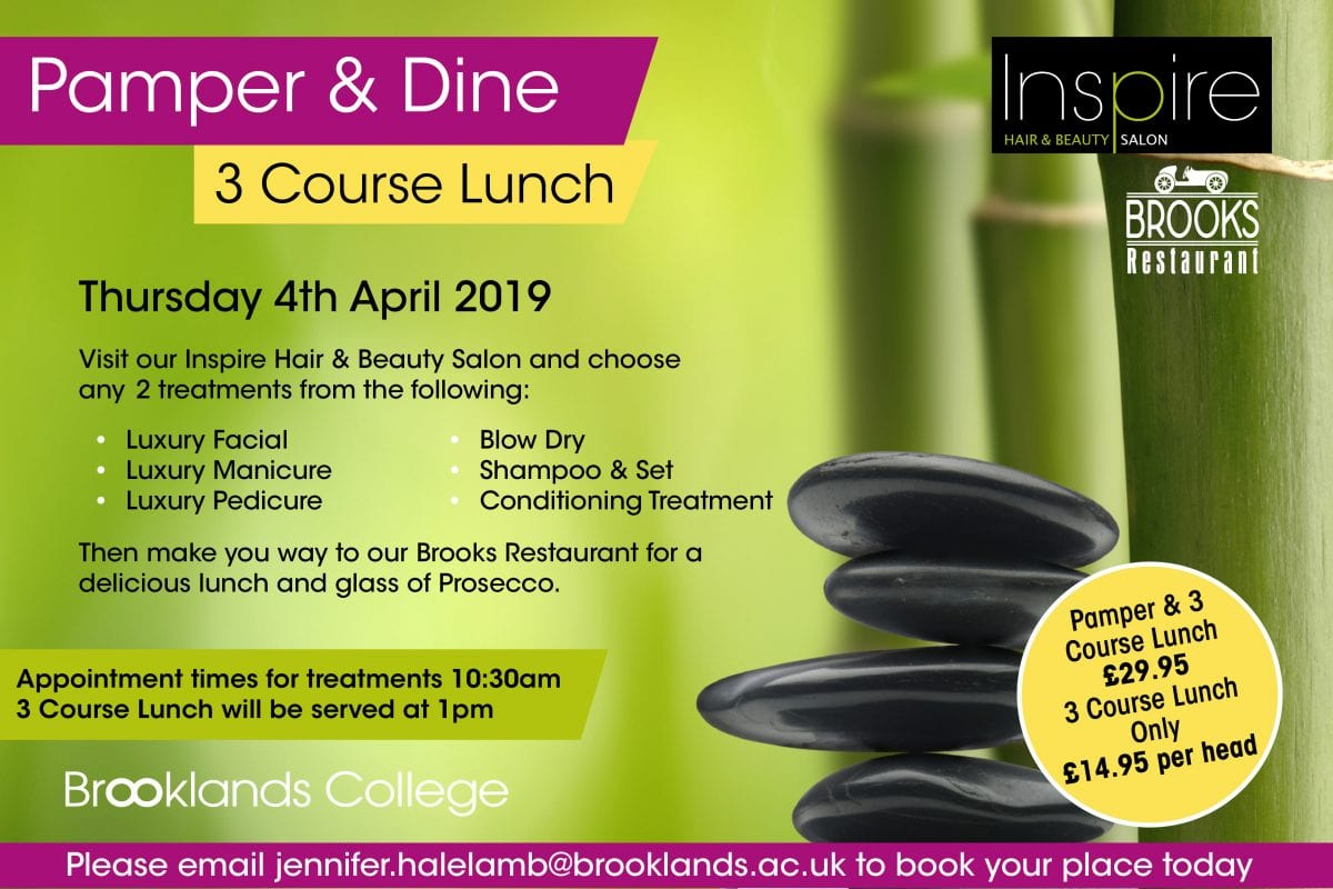 Pamper and Dine Poster at Brooklands College, Weybridge