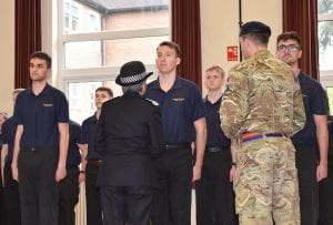 Commissioner of the Metropolitan Police, Cressida Dick, inspecting students' uniform and equipment