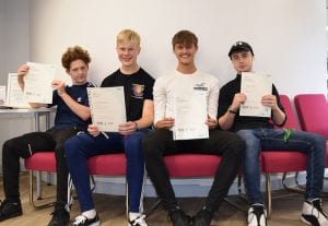 Level 3 Sport and Exercise Science students, Tom Faulkner, Charlie Hunt, Adrian Carlisle and Rory Flannagan - Brooklands College